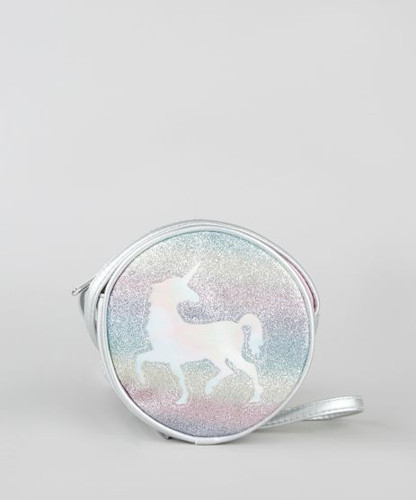 Bolsa-Infantil-Redonda-Metalizada-com-Unicornio-Holografico-e-Glitter-Prateado-9722722-Prateado_1
