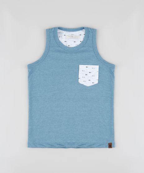 Regata-Infantil-com-Bolso-Estampado-de-Peixes-Azul-9865987-Azul_1