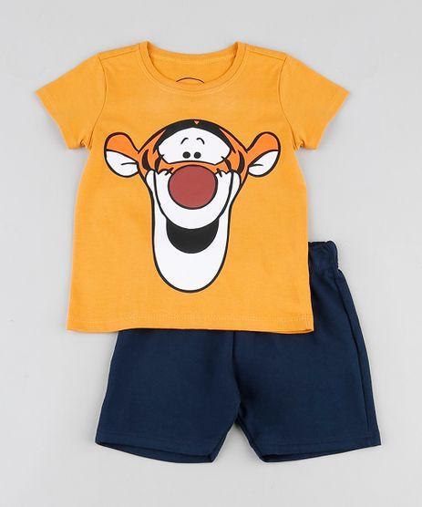 Conjunto-Infantil-Tigrao-de-Camiseta-Manga-Curta-Laranja---Bermuda-em-Moletom-Azul-Escuro-9876580-Azul_Escuro_1