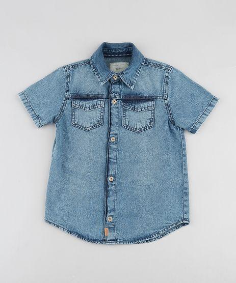 Camisa-Jeans-Infantil-com-Bolsos-Manga-Curta-Azul-Medio-9903571-Azul_Medio_1