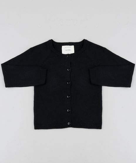Cardigan-Infantil-Basico-em-Trico-Preto-9797503-Preto_1