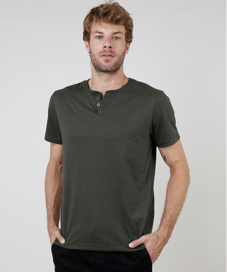 Camiseta-Masculina-Basica-Manga-Curta-Gola-Portuguesa--Verde-Militar-8170415-Verde_Militar_1