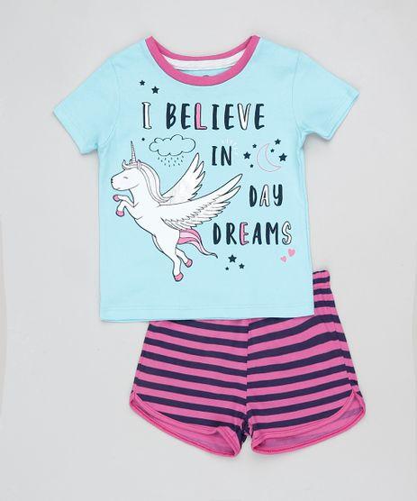 Pijama-Infantil-Unicornio-Manga-Curta--Azul-9876983-Azul_1