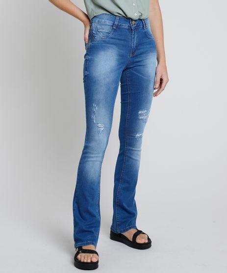 Calca-Jeans-Feminina-Sawary-Boot-Cut-Cintura-Media-Destroyed--Azul-Medio-9896006-Azul_Medio_1