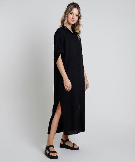 Vestido-Feminino-Midi-com-Fenda-Manga-Longa-Preto-9819271-Preto_1