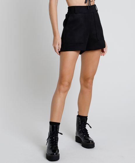 Short-Feminino-em-Suede-Cintura-Super-Alta-com-Bolsos--Preto-9879527-Preto_1