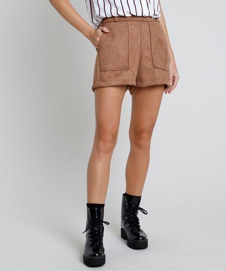 Short-Feminino-em-Suede-Cintura-Super-Alta-com-Bolsos--Caramelo-9879527-Caramelo_1