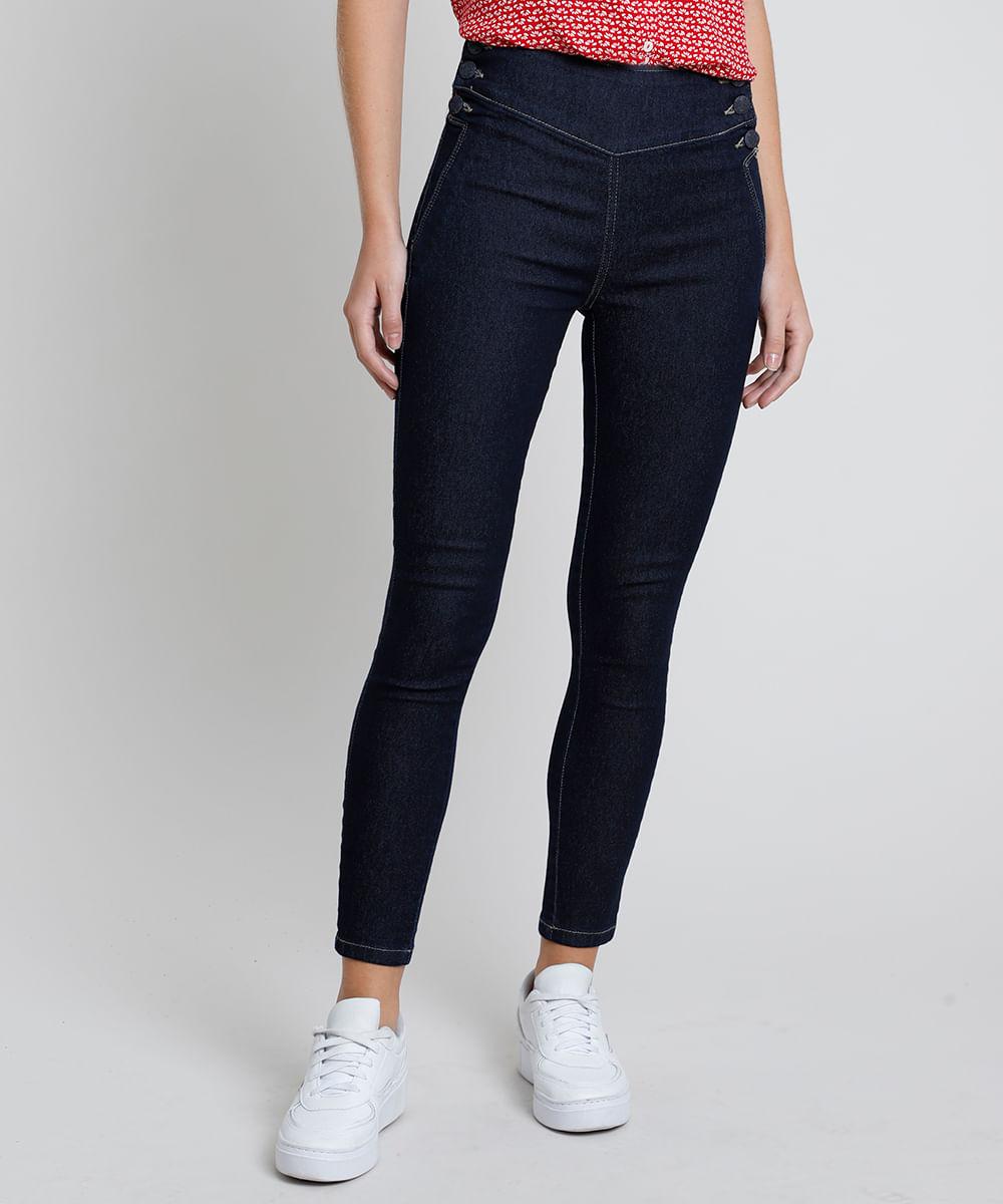 Calça Jeans Feminina Sawary Skinny Cintura Alta com Botões Azul Escuro