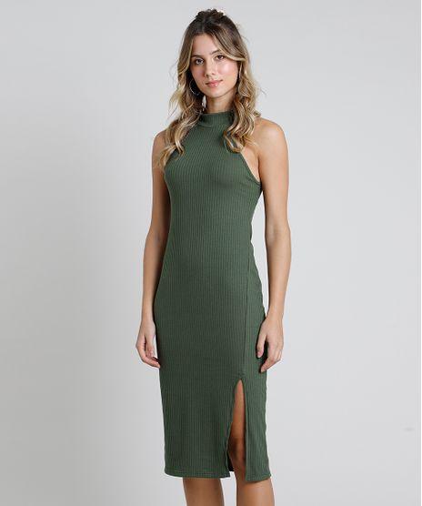 Vestido-Feminino-Midi-Halter-Neck-Canelado-com-Fenda-Gola-Alta-Verde-Militar-2-9611887-Verde_Militar_2_1