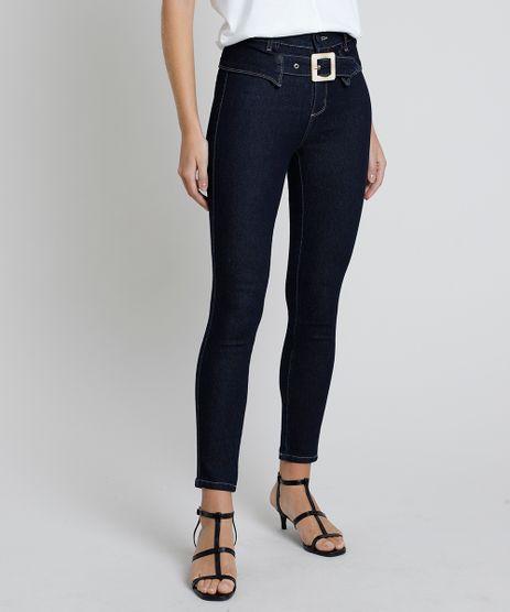Calca-Jeans-Feminina-Sawary-Cigarrete-Cintura-Alta-com-Fivela-e-Recorte-Azul-Escuro-9857017-Azul_Escuro_1