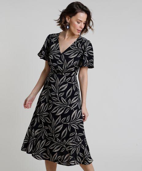 Vestido-Feminino-Midi-Estampado-de-Folhagem-Manga-Curta-Preto-9822202-Preto_1