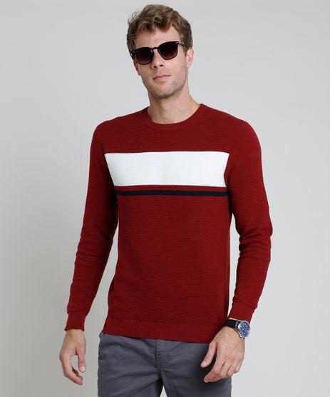 Sueter-Masculino-em-Trico-Texturizado-com-Listras-Vermelho-Escuro-9801194-Vermelho_Escuro_1