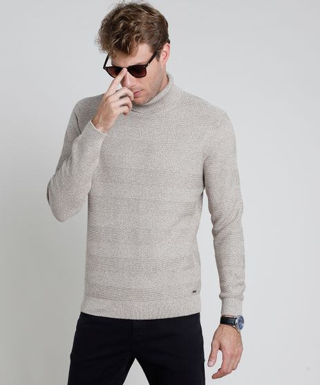Sueter-Masculino-em-Trico-Texturizado-Gola-Alta-Bege-Claro-9801198-Bege_Claro_1