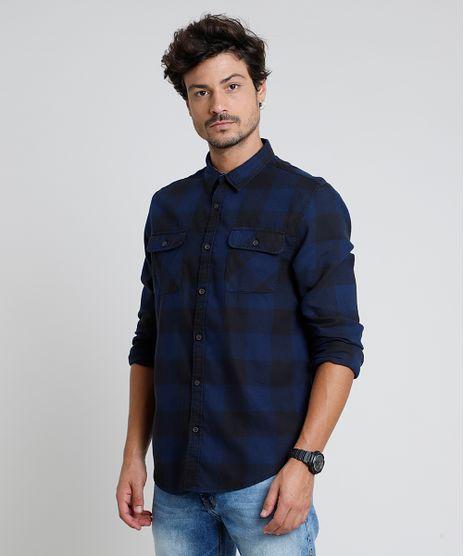Camisa-Masculina-Tradicional-em-Flanela-Estampada-Xadrez-com-Bolsos-Manga-Longa-Azul-9813196-Azul_1