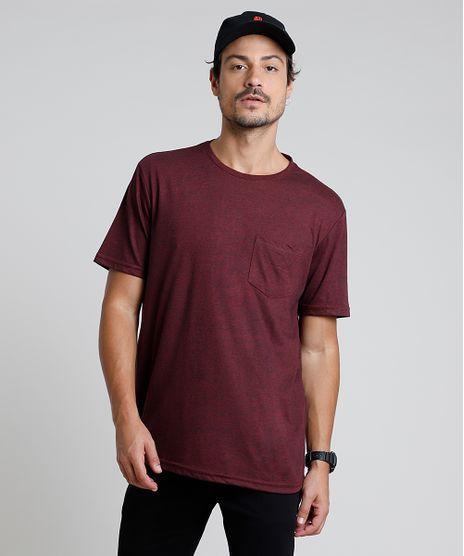 Camiseta-Masculina-com-Bolso-Manga-Curta-Gola-Careca-Vinho-9878044-Vinho_1
