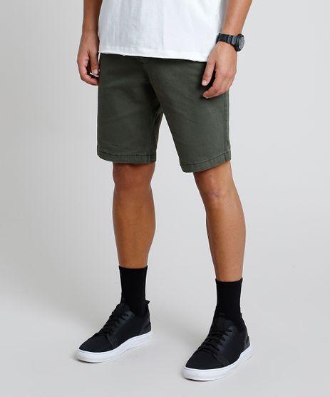 Bermuda-de-Sarja-Masculina-Slim-Verde-Militar-9895991-Verde_Militar_1