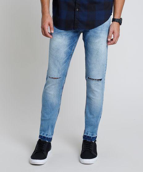 Calca-Jeans-Masculina-Skinny-com-Rasgos-Barra-Desfiada-Azul-Claro-9914629-Azul_Claro_1
