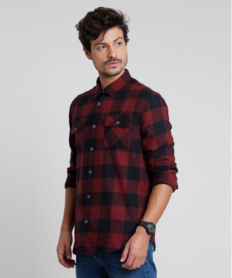 Camisa-Masculina-Tradicional-em-Flanela-Estampada-Xadrez-com-Bolsos-Manga-Longa-Vermelho-9813186-Vermelho_1