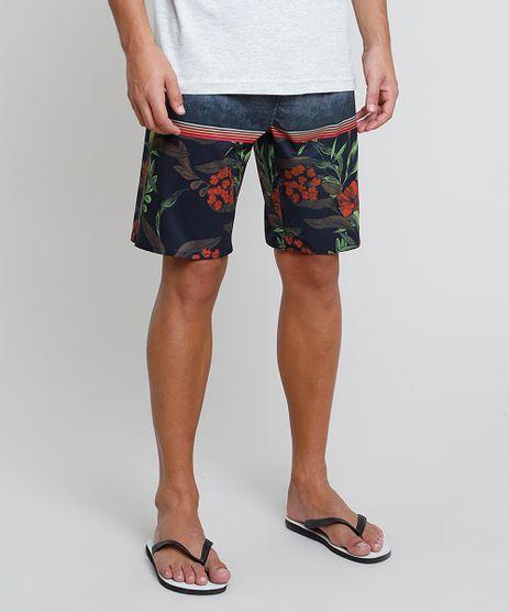 Bermuda-Surf-Masculina-Estampada-Floral-com-Listras-Cinza-Escuro-9869761-Cinza_Escuro_1
