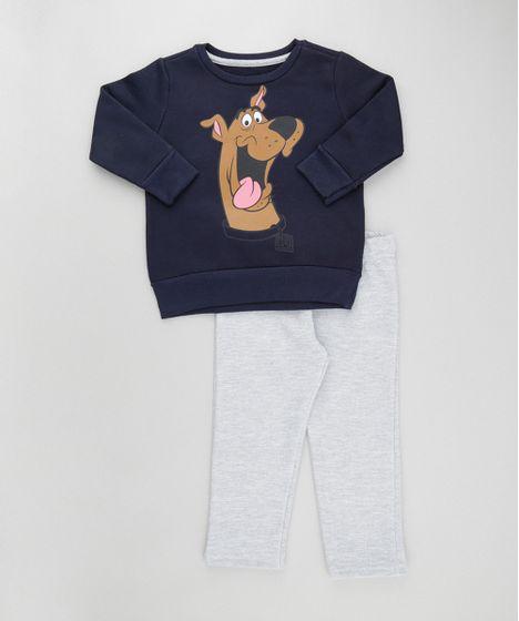 6cdc059a40 Conjunto de Blusão Azul Marinho + Calça em Moletom Scooby Doo Cinza ...