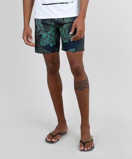 Bermuda-Surf-Masculina-Estampada-de-Folhagem-com-Bolso-Azul-Marinho-9869762-Azul_Marinho_1