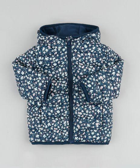 Jaqueta-Puffer-Infantil-Estampada-Floral-em-Nylon-com-Capuz-e-Bolsos-Azul-Marinho-9784734-Azul_Marinho_1