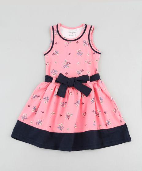 Vestido-Infantil-Estampado-Floral-com-Faixa-para-Amarrar-Sem-Manga-Rosa-9916421-Rosa_1