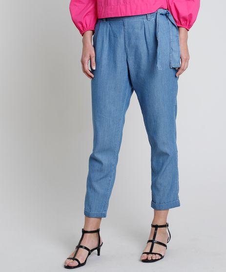 Calca-Jeans-Feminina-Clochard-Cintura-Super-Alta-com-Faixa-para-Amarrar-Azul-Medio-9885752-Azul_Medio_1