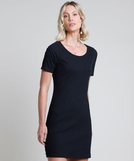 Vestido-Feminino-Curto-Canelado-Manga-Curta-Preto-9872910-Preto_1