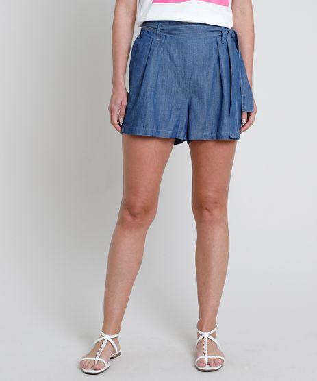 Short-Jeans-Feminino-Clochard-Cintura-Alta-com-Faixa-para-Amarrar-Azul-Medio-9836762-Azul_Medio_1