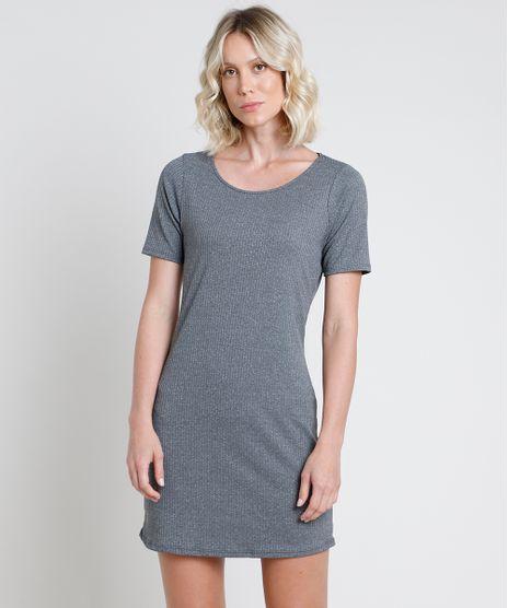 Vestido-Feminino-Curto-Canelado-Manga-Curta-Cinza-Mescla-Escuro-9872910-Cinza_Mescla_Escuro_1