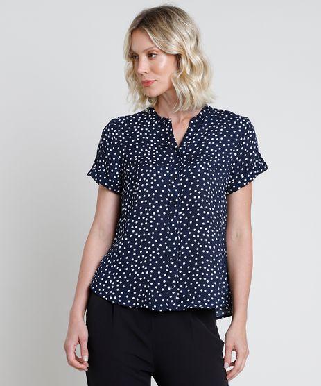 Camisa-Feminina-Estampada-de-Poa-com-Martingale-Manga-Curta-Azul-Marinho-9822190-Azul_Marinho_1