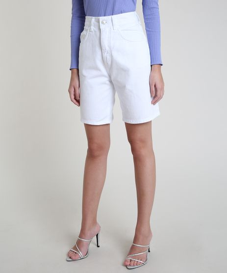 Bermuda-de-Sarja-Feminina-Mindset-Cintura-Super-Alta-com-Bolsos-Off-White-9944680-Off_White_1