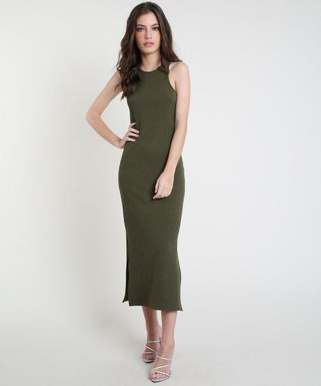 Vestido-Feminino-Mindset-Midi-Canelado-com-Fendas-Sem-Manga-Verde-Militar-9944684-Verde_Militar_1