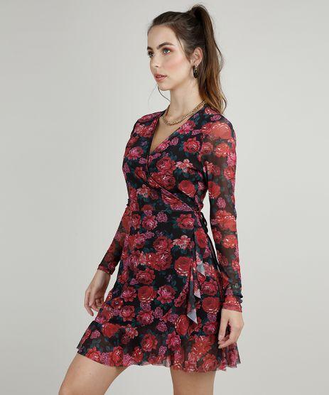Vestido-Feminino-Curto-Transpassado-em-Tule-Estampado-Floral-Manga-Longa-Preto-9884855-Preto_1