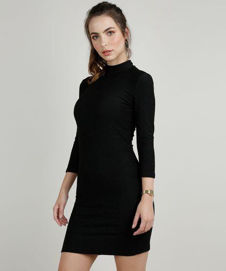 Vestido-Feminino-com-Lurex-Manga-3-4-Gola-Alta-Preto-9902051-Preto_1