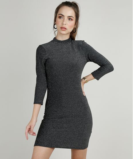 Vestido-Feminino-com-Lurex-Manga-3-4-Gola-Alta-Prateado-9902051-Prateado_1