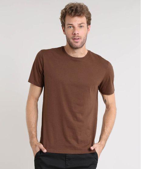 Camiseta-Masculina-Basica-Manga-Curta-Gola-Careca-Marrom-9451466-Marrom_1