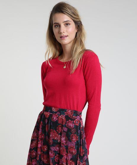 Sueter-Feminino-Basico-em-Trico-Decote-Redondo-Rosa-Escuro-9325342-Rosa_Escuro_1_1