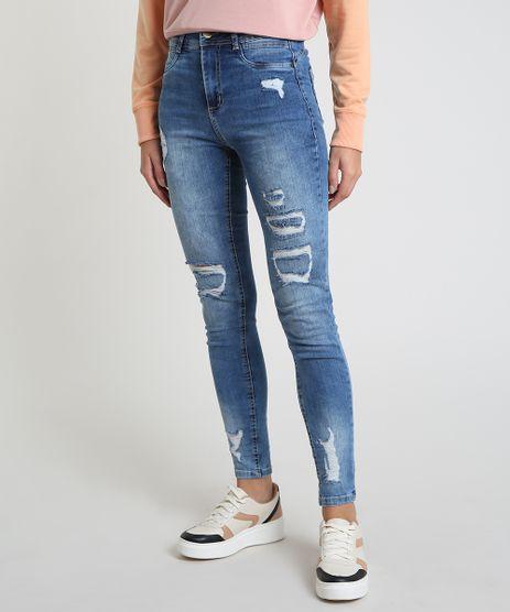 Calca-Jeans-Feminina-Sawary-Super-Skinny-Heart-Cintura-Alta-Destroyed-Azul-Medio-9914205-Azul_Medio_1