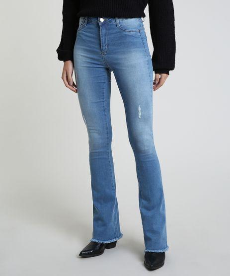 Calca-Jeans-Feminina-Sawary-Flare-Cintura-Alta-com-Barra-Desfiada-Azul-Claro-9914212-Azul_Claro_1
