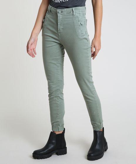 Calca-de-Sarja-Feminina-Jogger-Cintura-Alta-com-Bolsos-Verde-Militar-9914204-Verde_Militar_1