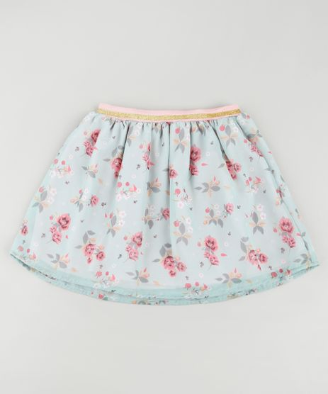 Saia-Infantil-Estampada-Floral-com-Lurex-Verde-Claro-9896937-Verde_Claro_1