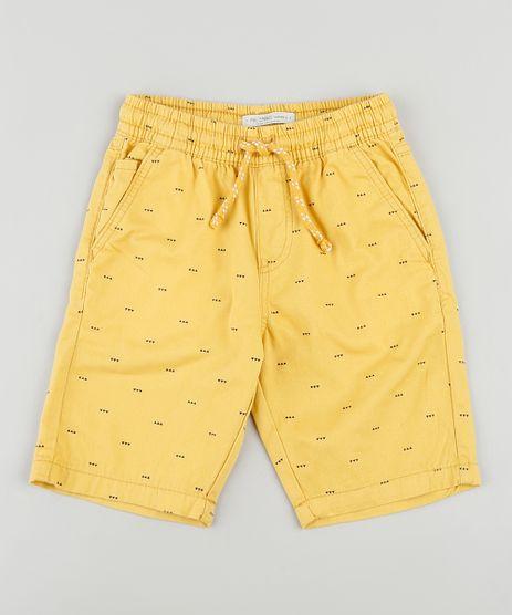 Bermuda-de-Sarja-Infantil-Estampada-Geometrica-com-Cordao-Amarela-9916149-Amarelo_1