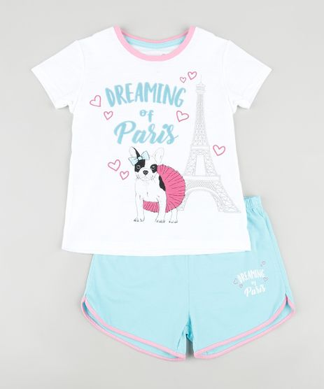 Pijama-Infantil-Cachorro--Dreaming-of-Paris--Manga-Curta-Off-White-9876985-Off_White_1