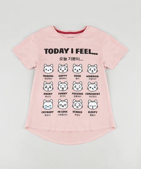 Blusa-Infantil-Gatinhos--Today-I-Feel-----Manga-Curta-Rose-9888008-Rose_1