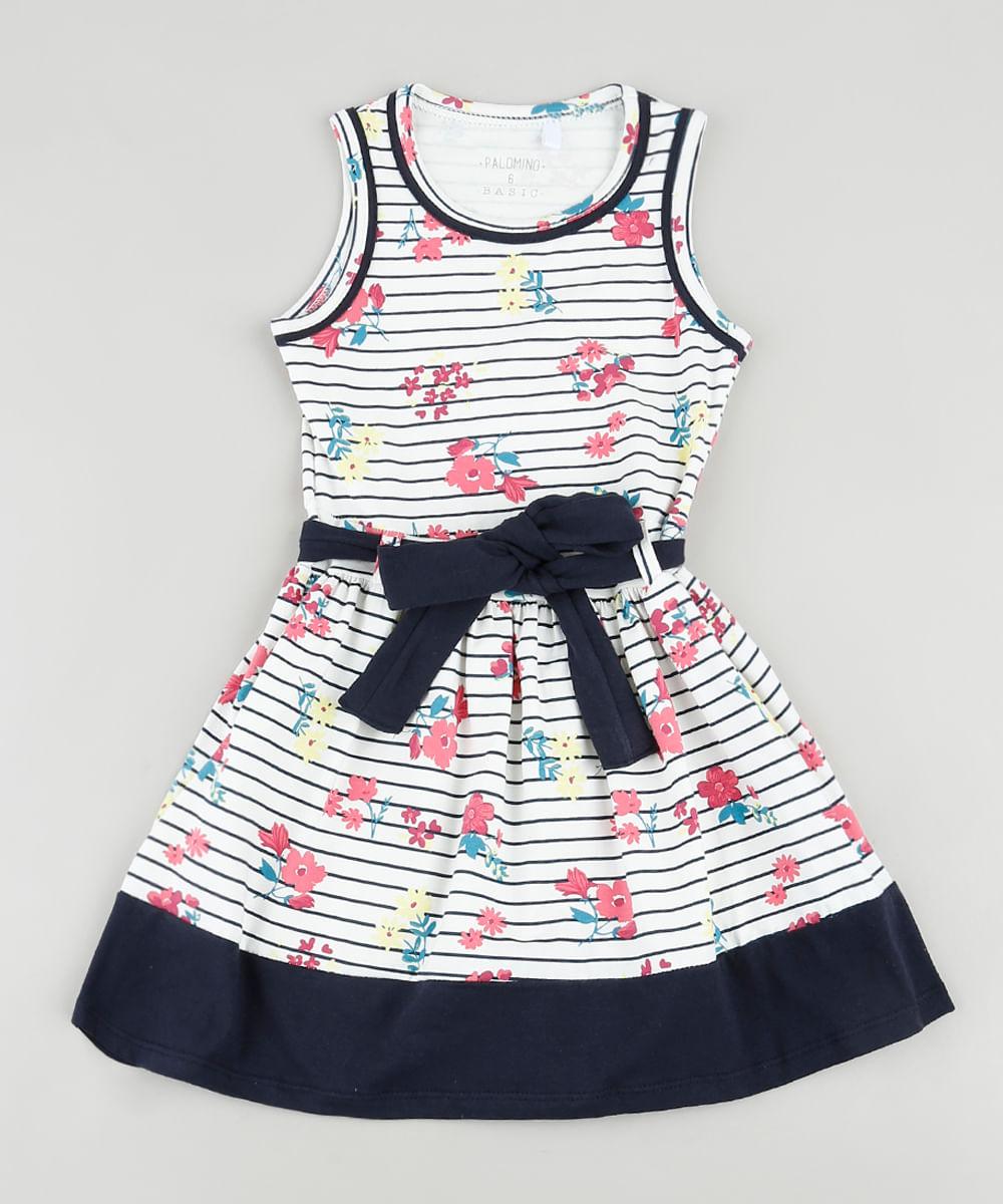 Vestido Infantil Listrado Floral com Faixa para Amarrar Sem Manga Off White