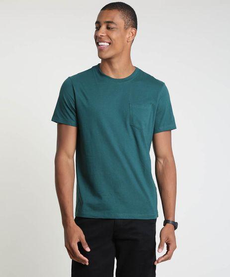 Camiseta-Masculina-com-Bolso-Manga-Curta-Gola-Careca-Verde-Escuro-9896554-Verde_Escuro_1