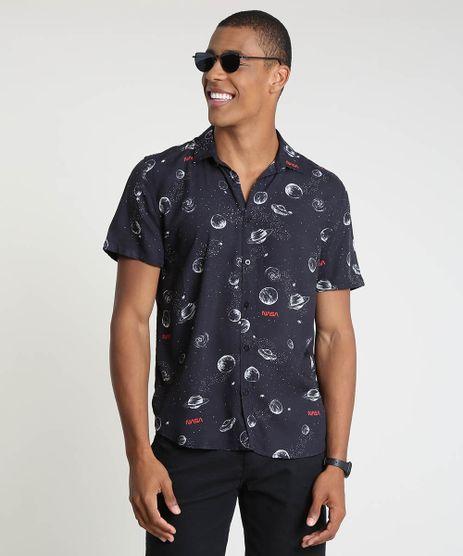 Camisa-Masculina-Tradicional-Estampada-NASA-Manga-Curta-Preta-9887566-Preto_1