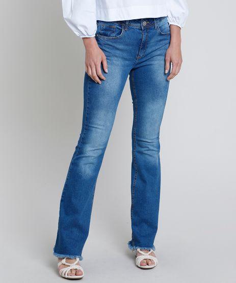 Calca-Jeans-Feminina-Flare-Cintura-Alta-com-Barra-Desfiada-Azul-Medio-9854645-Azul_Medio_1